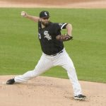 Chicago White Sox starting pitcher Lance Lynn (33) throws against the Cleveland Indians during the first inning at Guar