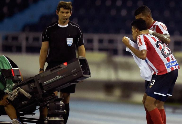 Celebración Luis Díaz Junior 1-0 Defensa y Justicia Copa Sudamericana 2018