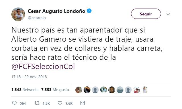 Trino César Augusto Londoño sobre Alberto Gamero