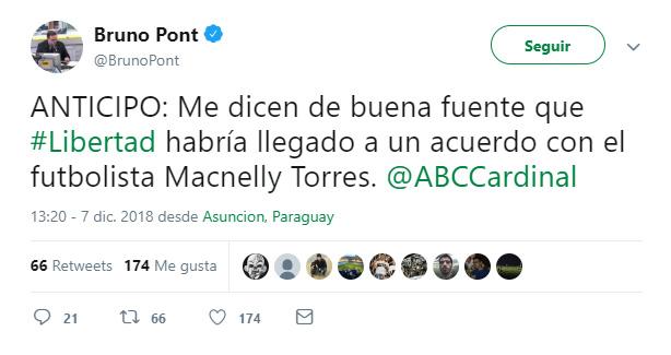 Club Libertad Macnelly Torres Bruno Pont