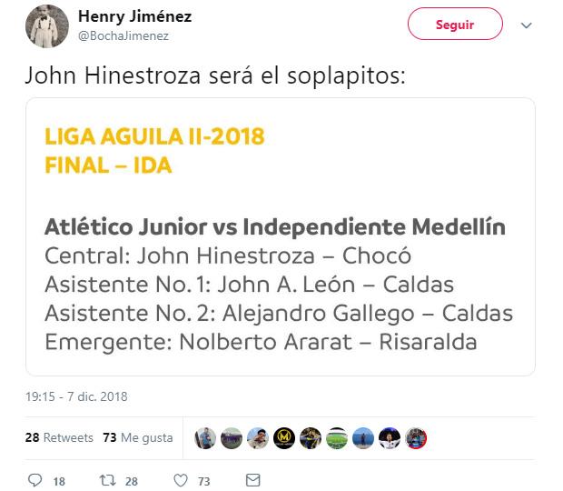 Comentario Henry 'Bocha' Jiménez John Hinestroza