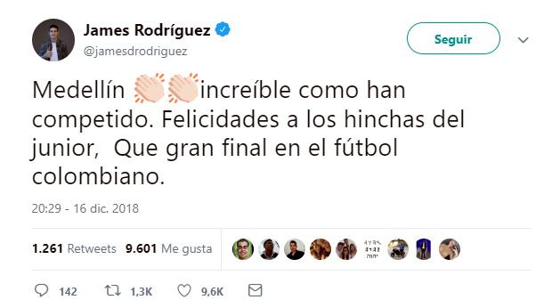 Publicación James Rodríguez final Liga Águila 2018-II