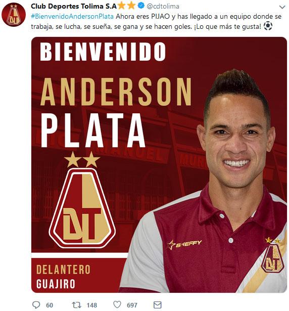 Deportes Tolima publicación Ánderson Plata