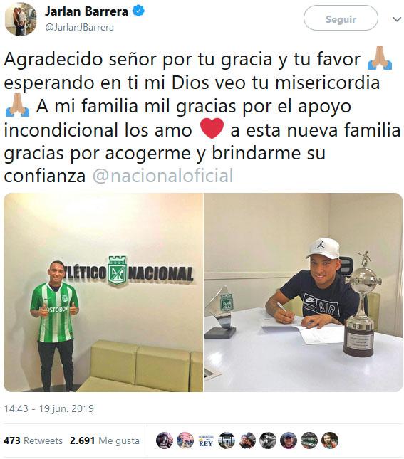 Jarlan Barrera es nuevo refuerzo de Atlético Nacional — Oficial