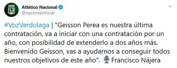 Cierre libro de fichajes, Geisson Perea, Atlético Nacional
