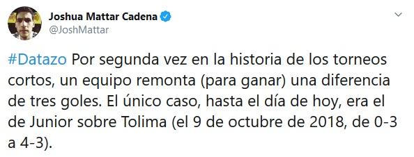 Dato remontada, Nacional, Equidad