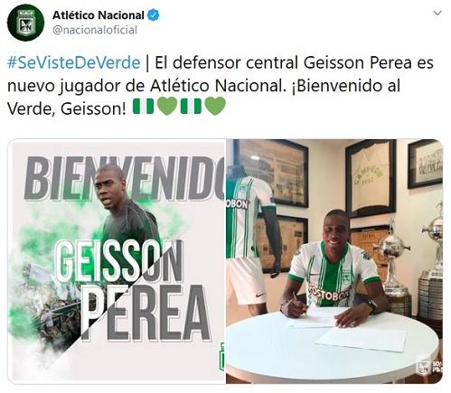 Geisson Perea, Atlético Nacional, presentación