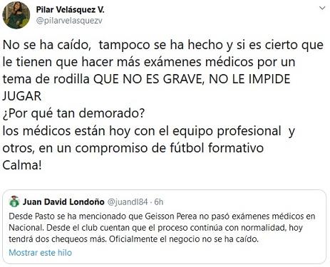 Pilar Velásquez, Geisson Perea