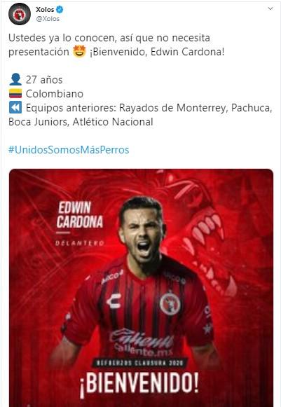 Tijuana confirma el fichaje de Edwin Cardona 2