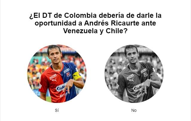 Andrés Ricaurte, encuesta, Selección Colombia