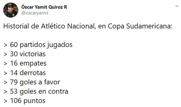 Atlético-Nacional, Copa-Sudamericana, Óscar Yamit Quiroz