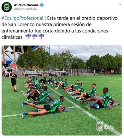 Atlético Nacional, entrenamiento, Argentina