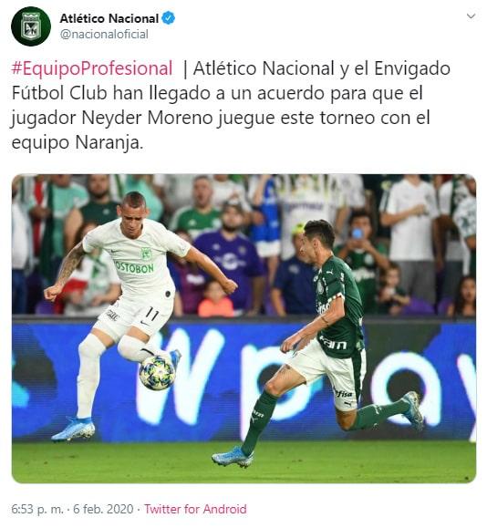 Atlético Nacional, comunicado, Neyder Moreno