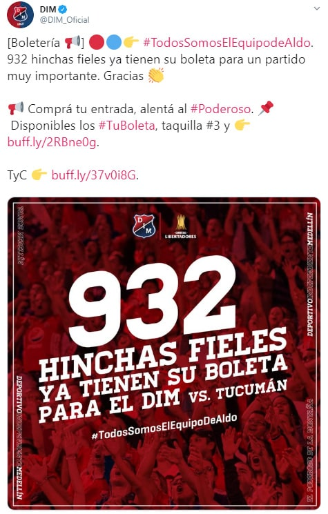 DIM vs. Club Atlético Tucumán, Copa Libertadores 2020, boletería (1)