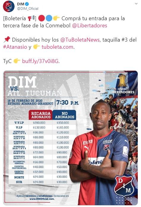 DIM vs. Club Atlético Tucumán, Copa Libertadores 2020, boletería (2)