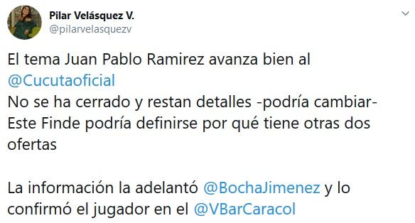 Indio Ramírez, Nacional, Cúcuta, Pilar Velásquez