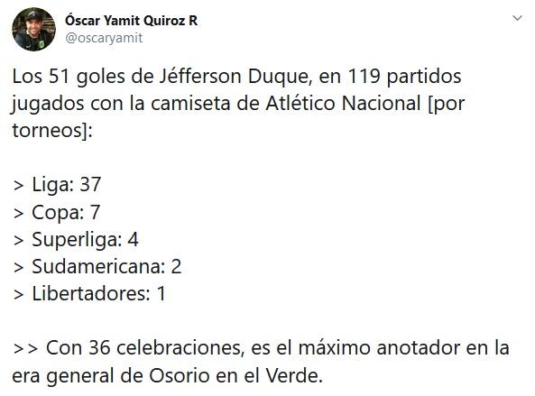 Jéfferson Duque, goles, Atlético Nacional