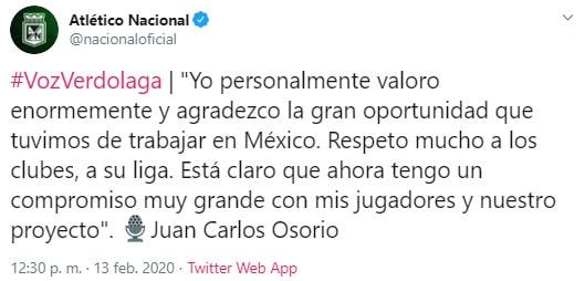 Juan Carlos Osorio, México, Atlético Nacional