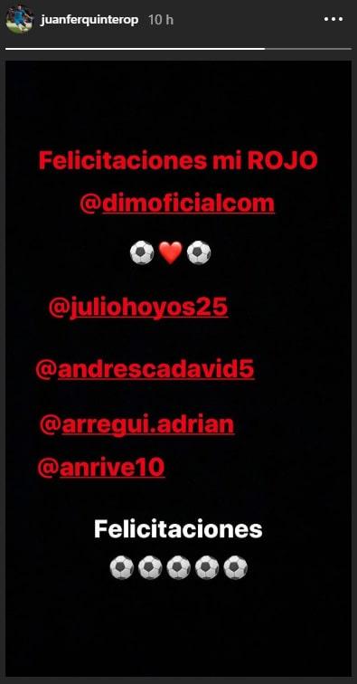Juan Fernando Quintero, Medellín, Instagram, felicitación