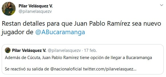 Juan Pablo Ramírez, Atlético-Bucaramanga, Pilar Velásquez