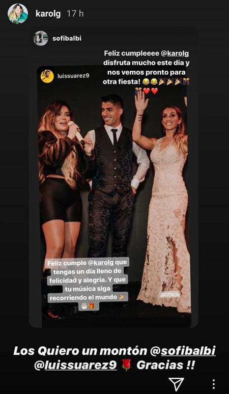 Karol G, Sofía Balbi, Luis Suárez, Instagram