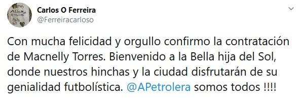 Macnelly Torres, Alianza Petrolera