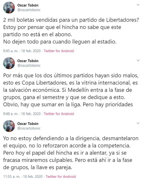Medellín vs. Tucumán, Copa Libertadores 2020, Óscar Tobón
