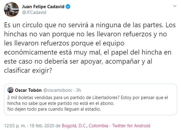 Medellín vs. Tucumán, Copa Libertadores 2020, Juan Felipe Cadavid