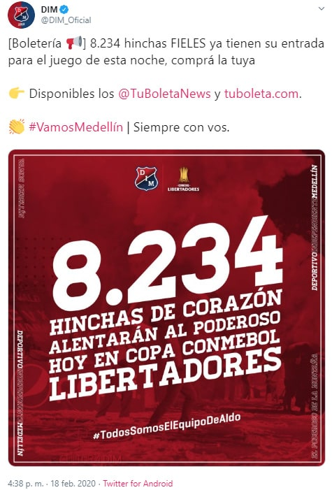 Medellín vs. Tucumán, Copa Libertadores 2020, boletería, último reporte (1)