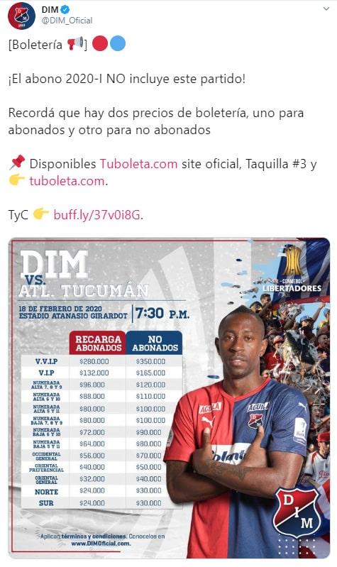 Medellín vs. Tucumán, Copa Libertadores 2020, boletería