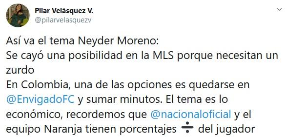 Neyder Moreno, Nacional, Envigado, Pilar Velásquez