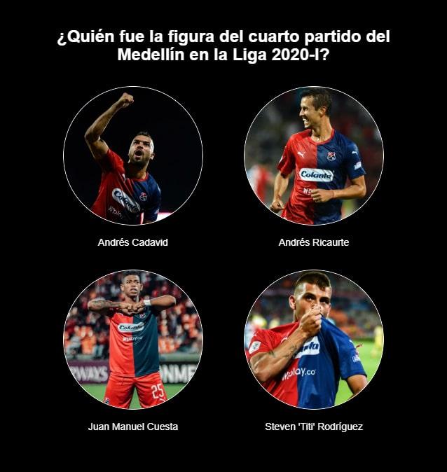 ¿Quién fue la figura del cuarto partido del Medellín en la Liga 2020-I?