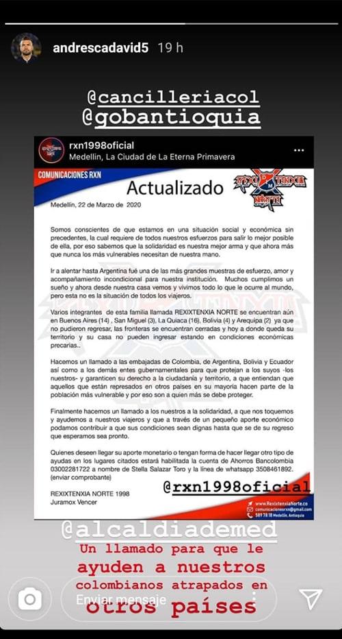Andrés Cadavid, Rexixtenxia Norte, petición