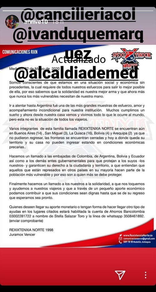 Andrés Ricaurte, Rexixtenxia Norte, petición
