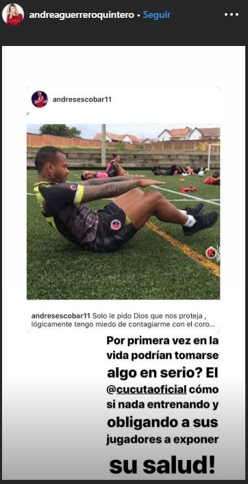 Andrea Guerrero, COVID-19, Cúcuta Deportivo, publicación