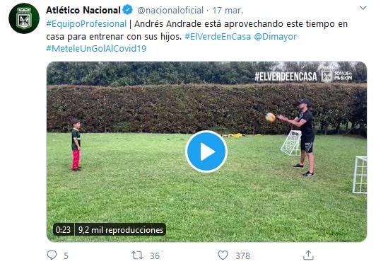 Atlético Nacional, Andrés Andrade, Twitter, mensaje