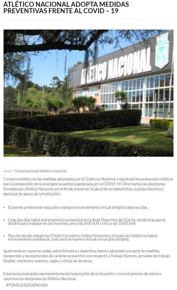 Atlético Nacional, COVID-19, prevención