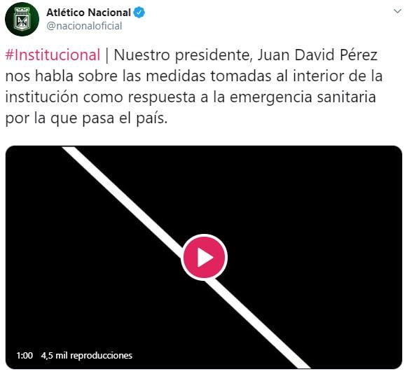 Atlético Nacional, Juan David Pérez, Twitter