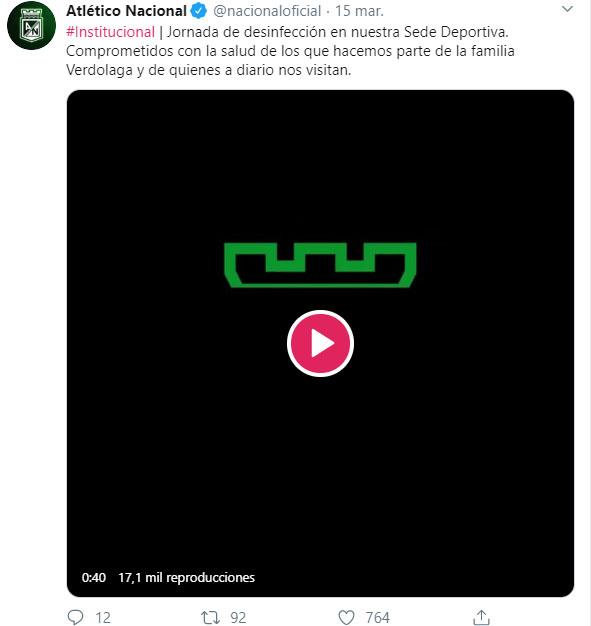 Atlético Nacional, desinfección, coronavirus COVID-19