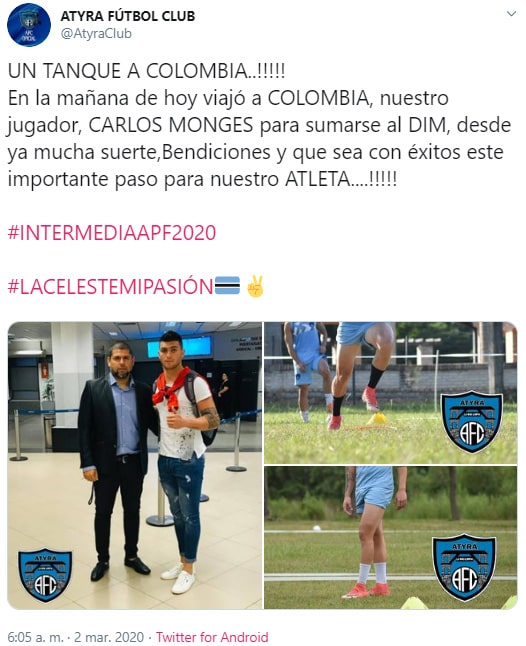 Atyrá Fútbol Club, Carlos Monges, información