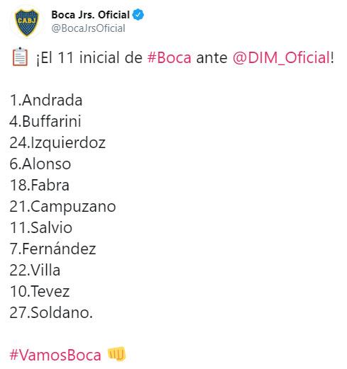 Boca Juniors, Copa Libertadores 2020, once