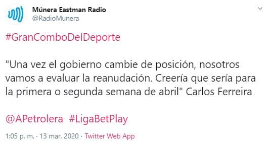 Carlos Ferreira, Múnera Eastman Radio, Liga 2020-I