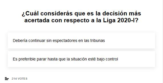 ¿Cuál considerás que es la decisión más acertada con respecto a la Liga 2020-I?
