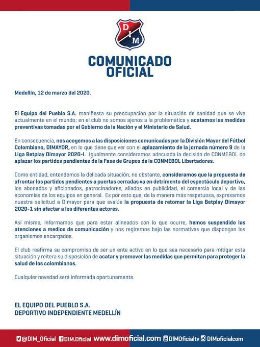 DIM, Liga 2020-I, Copa Libertadores 2020, Twitter