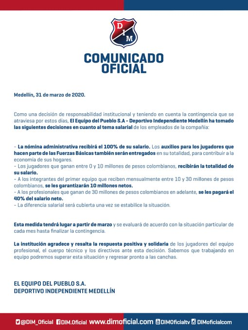 DIM, comunicado, salarios, coronavirus COVID-19