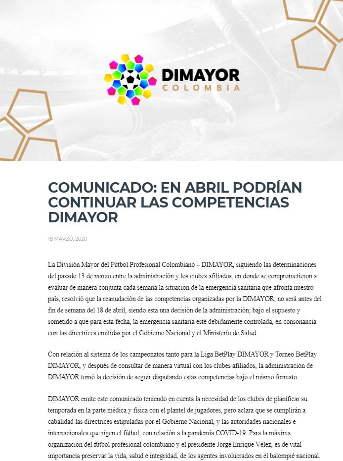 Dimayor, Liga 2020-I, comunicado