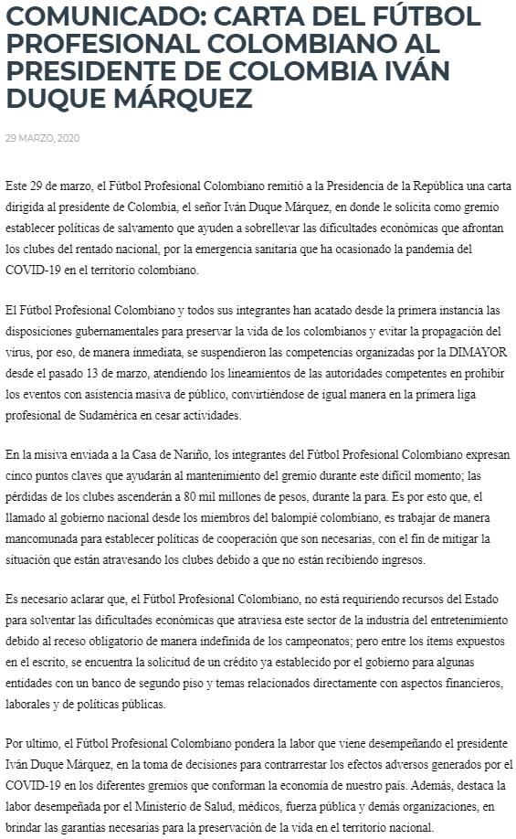 Dimayor, comunicado, coronavirus COVID-19, Iván Duque, Jorge Enrique Vélez