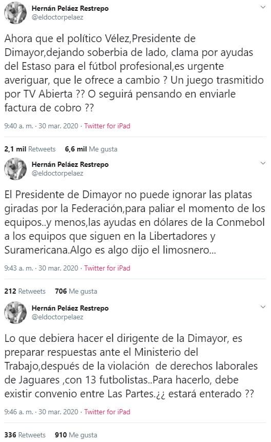 Hernán Peláez, Jorge Enrique Vélez, Dimayor, coronavirus COVID-19