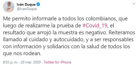 Iván Duque, COVID-19, resultado