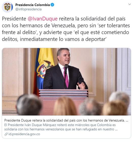 Iván Duque, coronavirus COVID-19, venezolanos, advertencia